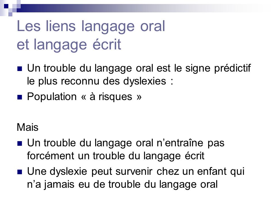 Les liens langage oral et langage écrit