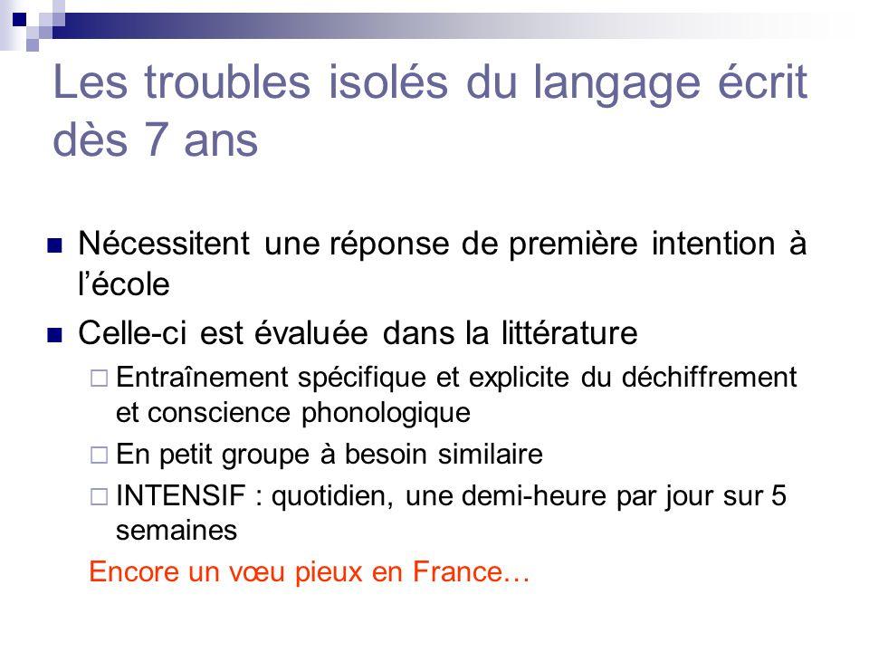 Les troubles isolés du langage écrit dès 7 ans