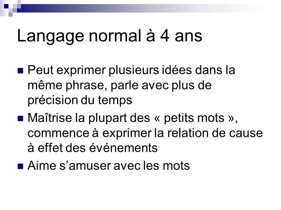 Langage normal à 4 ans Peut exprimer plusieurs idées dans la même phrase, parle avec plus de précision du temps.