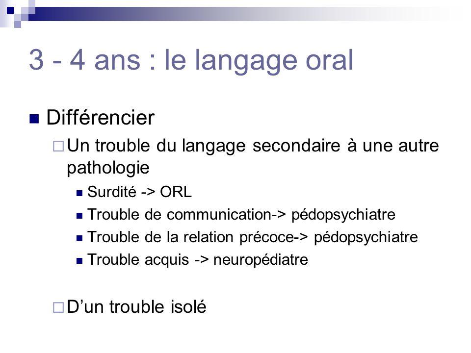 3 - 4 ans : le langage oral Différencier