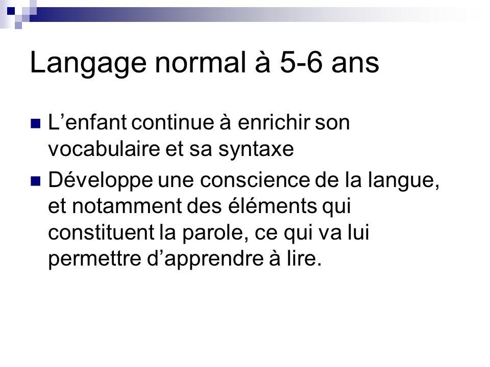 Langage normal à 5-6 ans L'enfant continue à enrichir son vocabulaire et sa syntaxe.