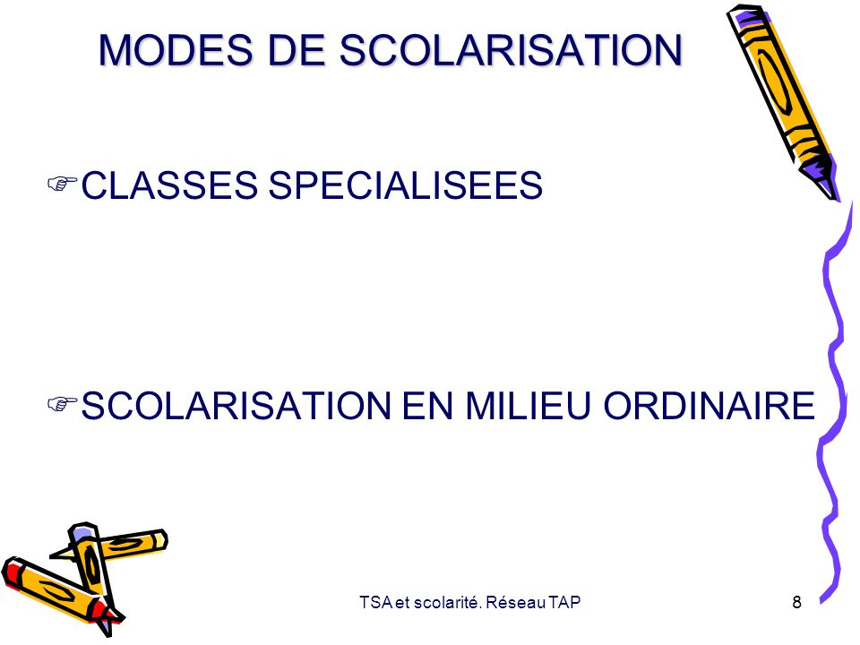 MODES DE SCOLARISATION