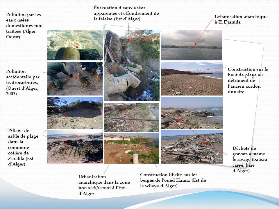 Évacuation d'eaux usées apparentes et effondrement de la falaise (Est d'Alger)