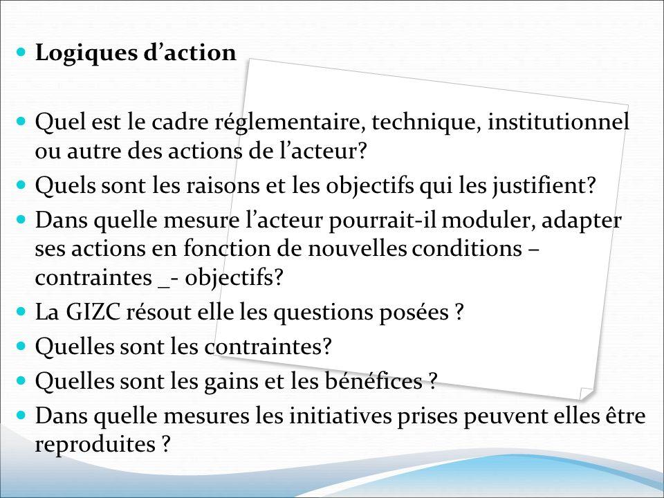 Logiques d'action Quel est le cadre réglementaire, technique, institutionnel ou autre des actions de l'acteur