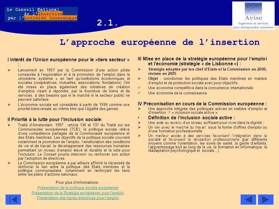 L'approche européenne de l'insertion