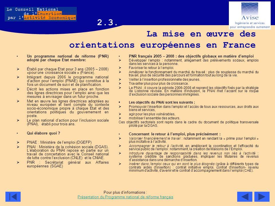La mise en œuvre des orientations européennes en France