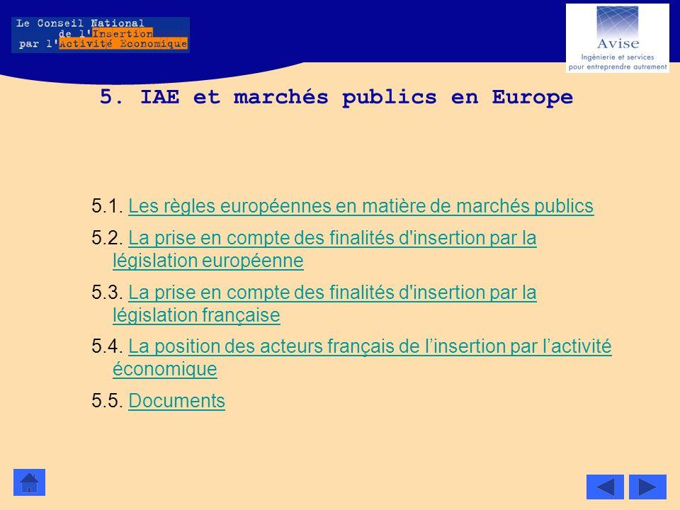 5. IAE et marchés publics en Europe
