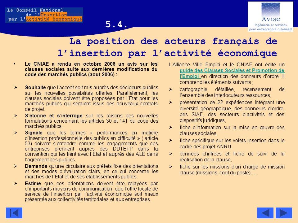 5.4. La position des acteurs français de l'insertion par l'activité économique.