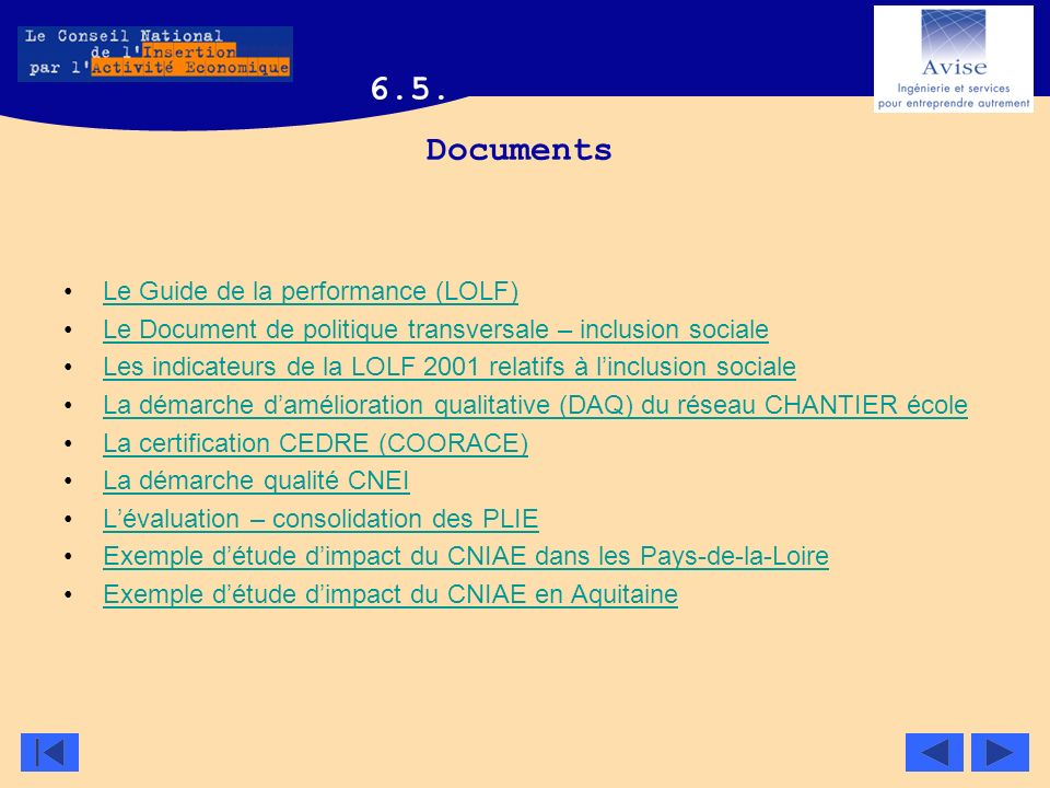 6.5. Documents Le Guide de la performance (LOLF)