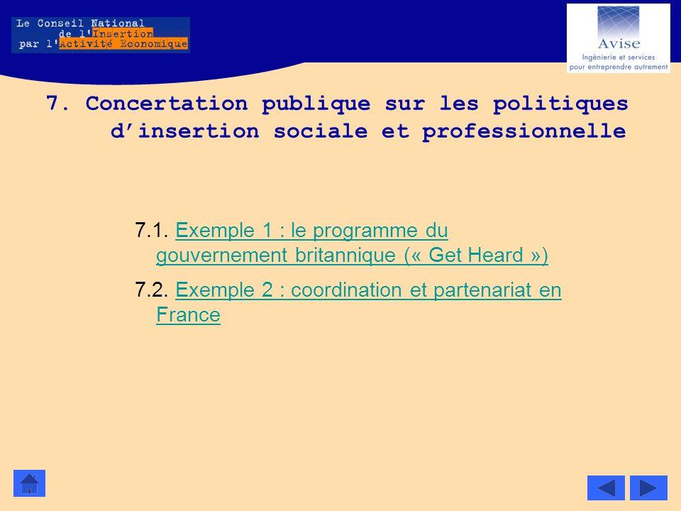 7. Concertation publique sur les politiques d'insertion sociale et professionnelle