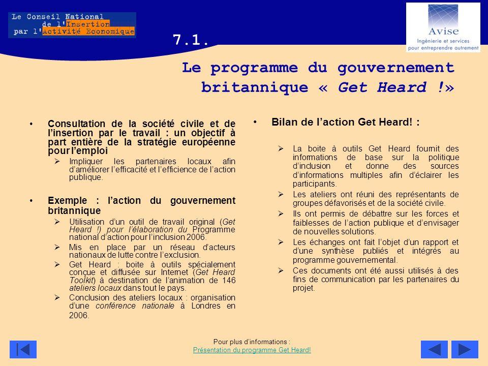 Le programme du gouvernement britannique « Get Heard !»