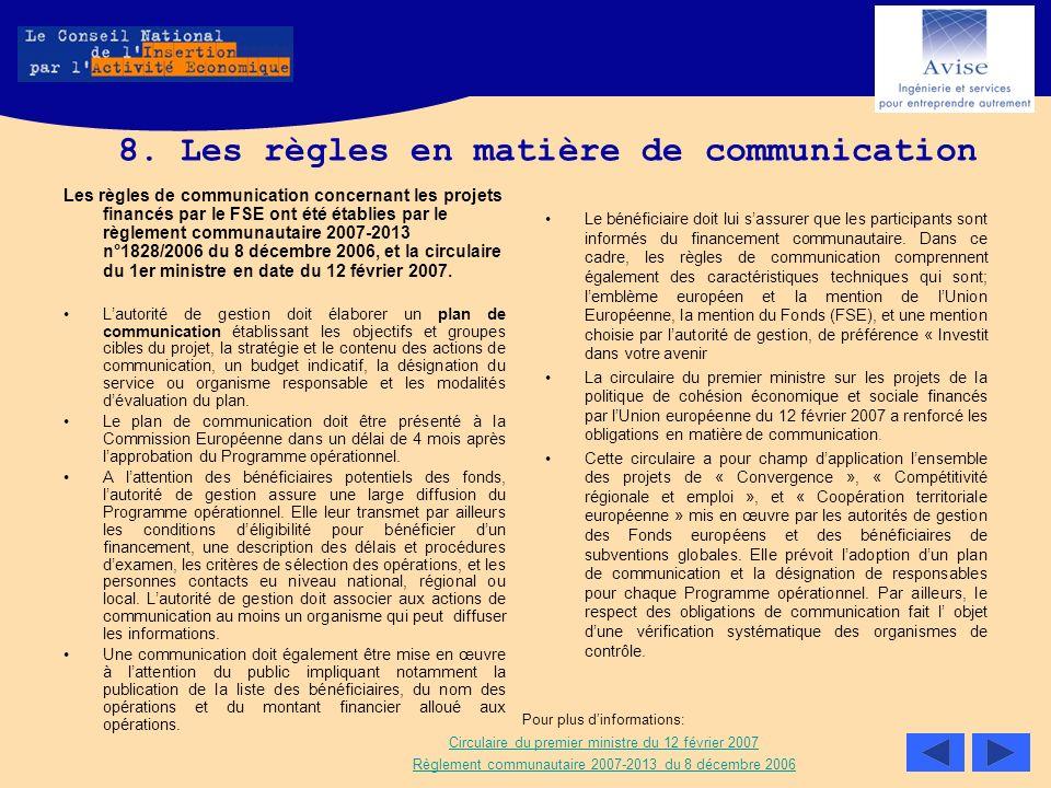 8. Les règles en matière de communication