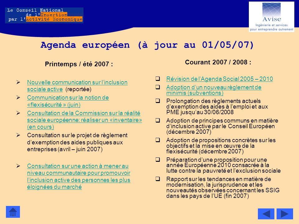 Agenda européen (à jour au 01/05/07)