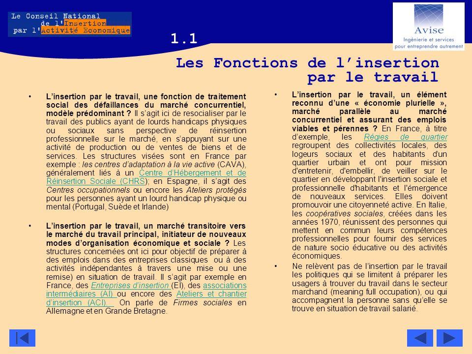 Les Fonctions de l'insertion par le travail