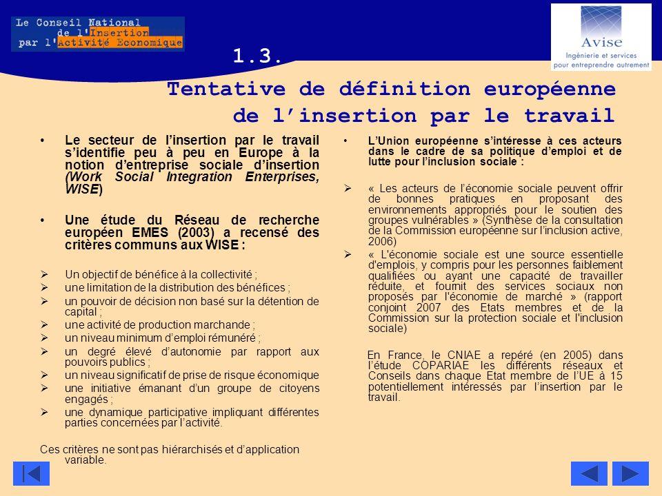 Tentative de définition européenne de l'insertion par le travail