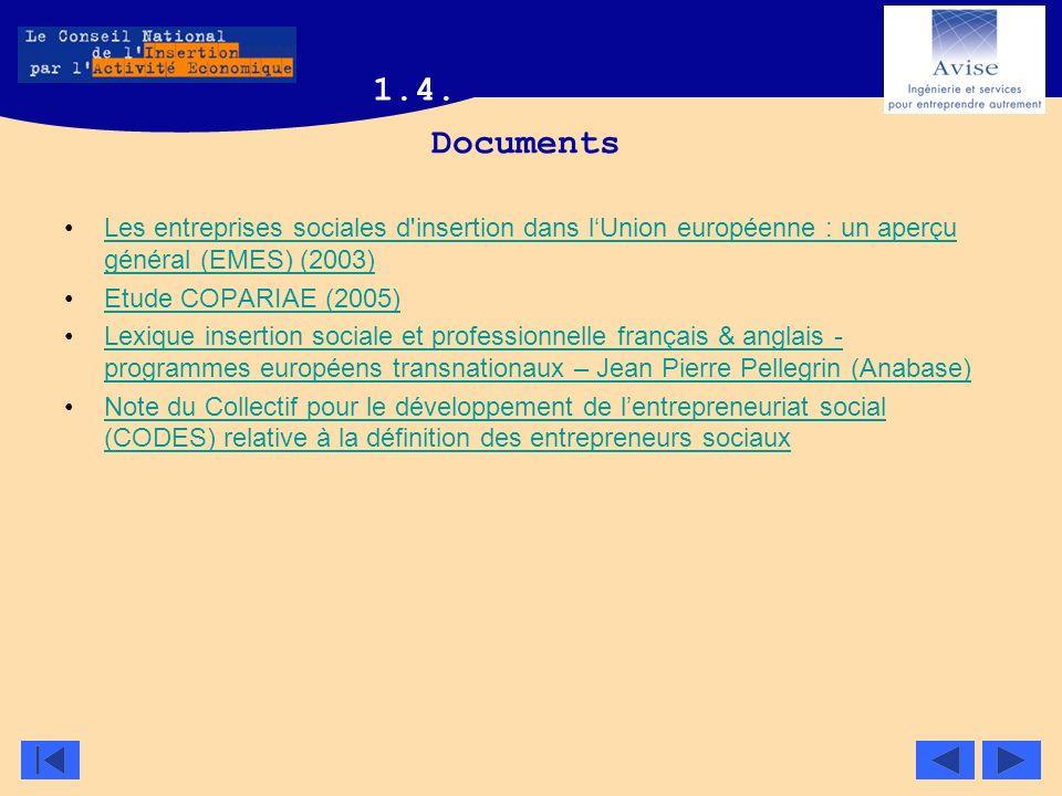1.4. Documents. Les entreprises sociales d insertion dans l'Union européenne : un aperçu général (EMES) (2003)
