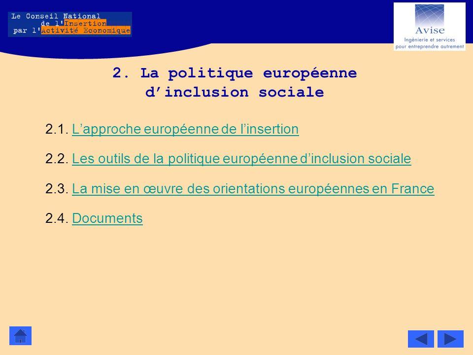 2. La politique européenne d'inclusion sociale