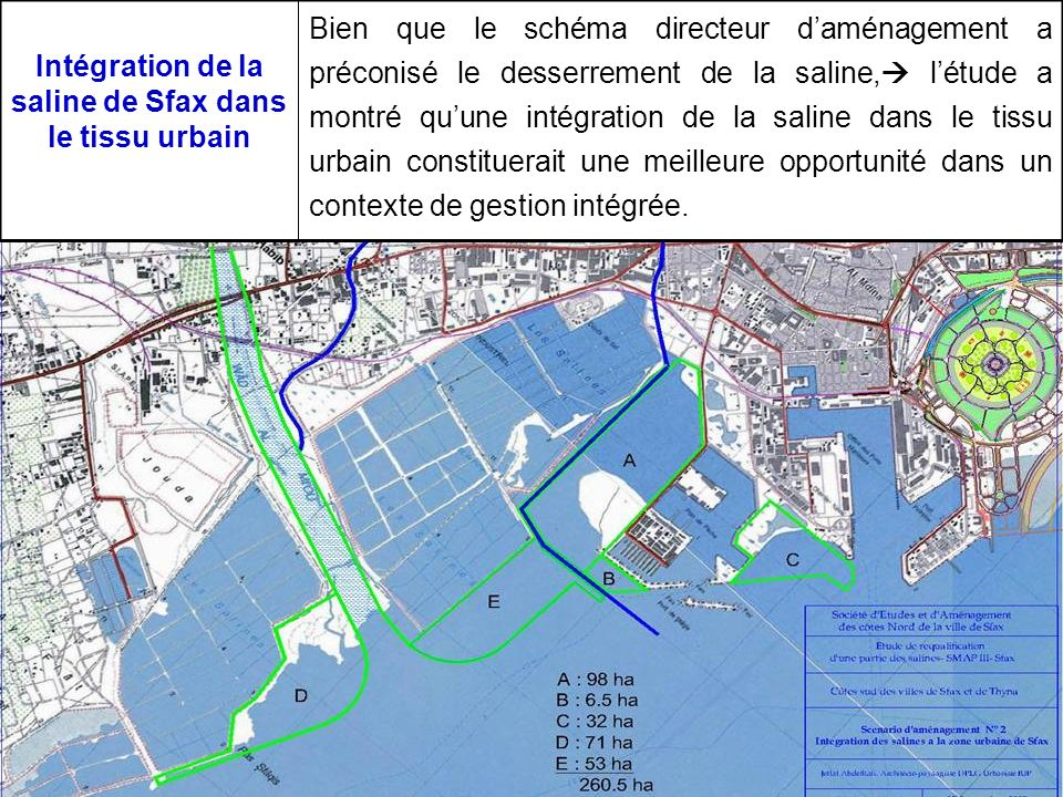 Intégration de la saline de Sfax dans le tissu urbain