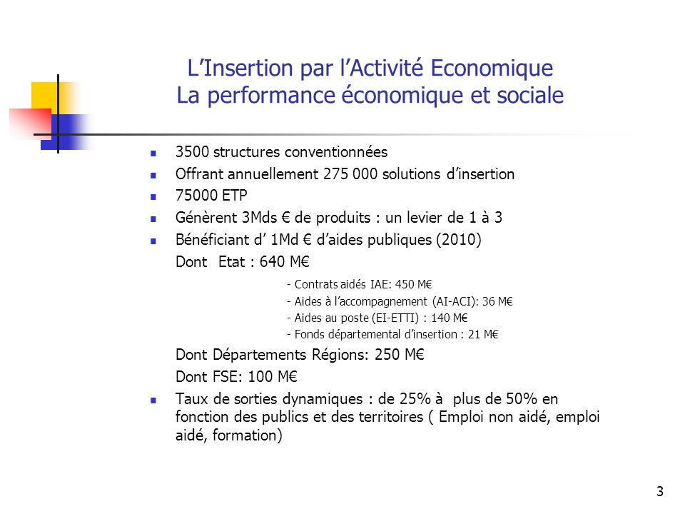 L'Insertion par l'Activité Economique La performance économique et sociale