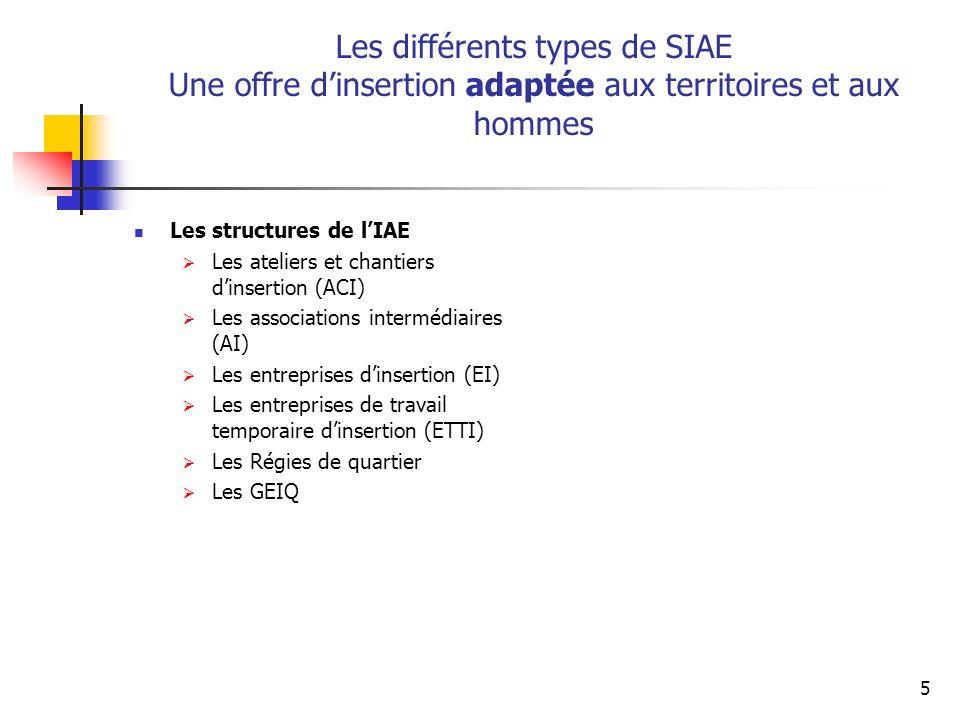 Les différents types de SIAE Une offre d'insertion adaptée aux territoires et aux hommes