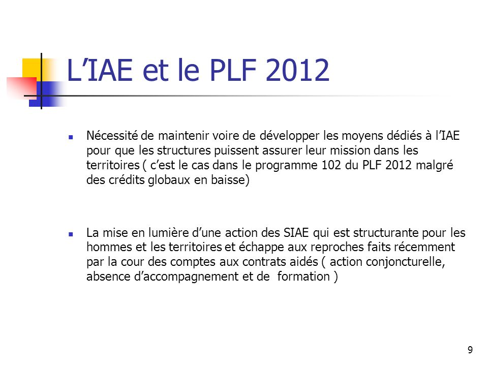 L'IAE et le PLF 2012