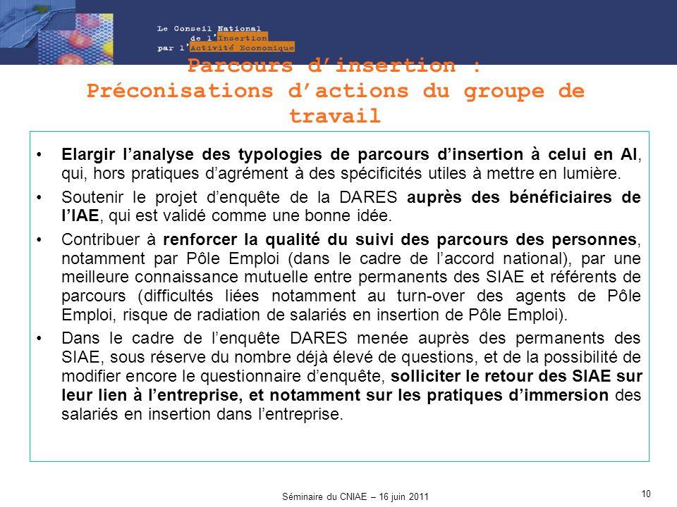 Parcours d'insertion : Préconisations d'actions du groupe de travail