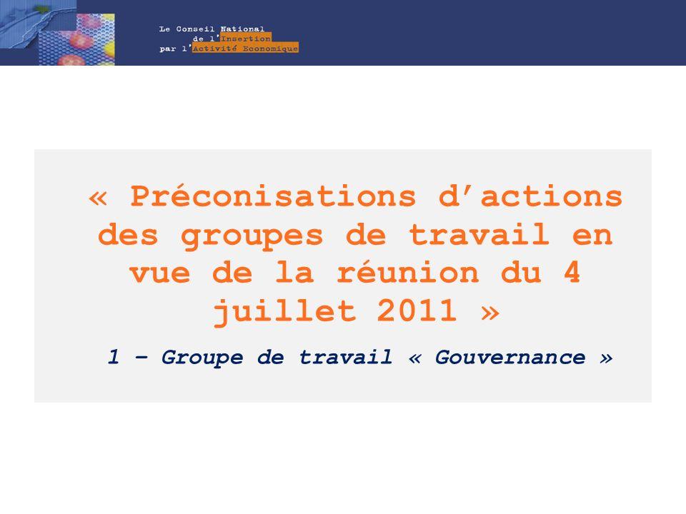 « Préconisations d'actions des groupes de travail en vue de la réunion du 4 juillet 2011 » 1 – Groupe de travail « Gouvernance »