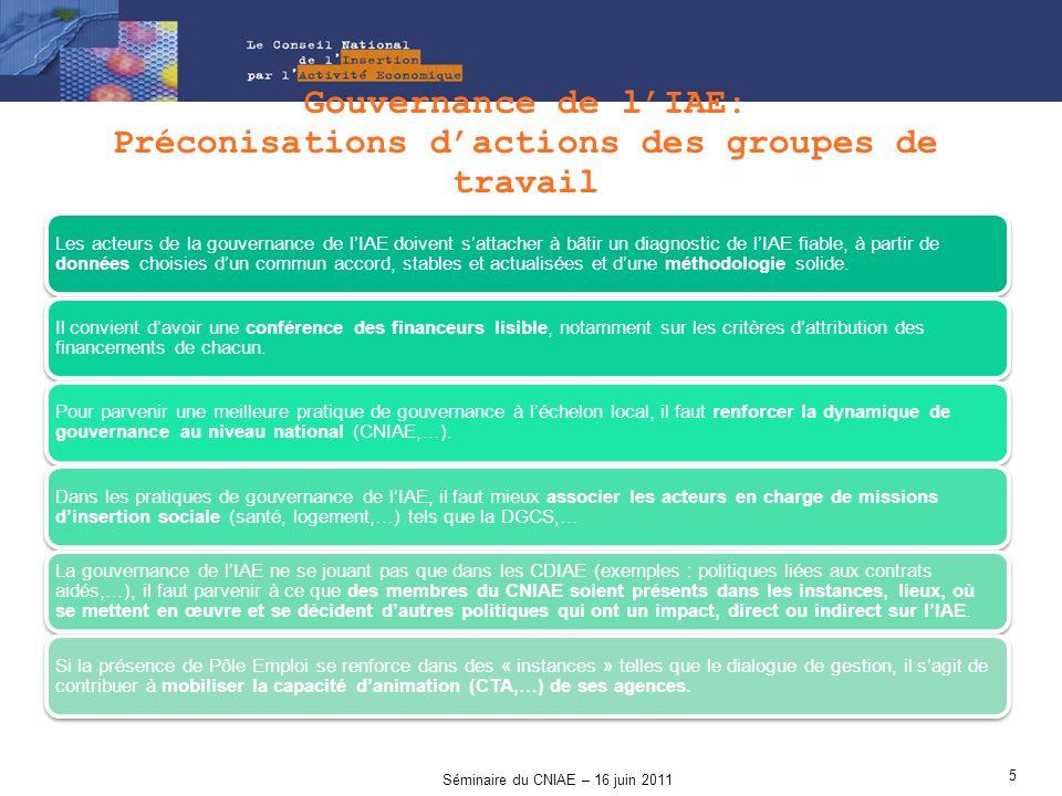 Gouvernance de l'IAE: Préconisations d'actions des groupes de travail