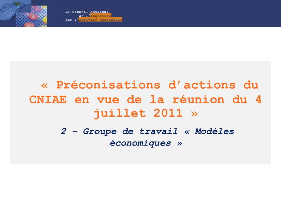 « Préconisations d'actions du CNIAE en vue de la réunion du 4 juillet 2011 » 2 – Groupe de travail « Modèles économiques »