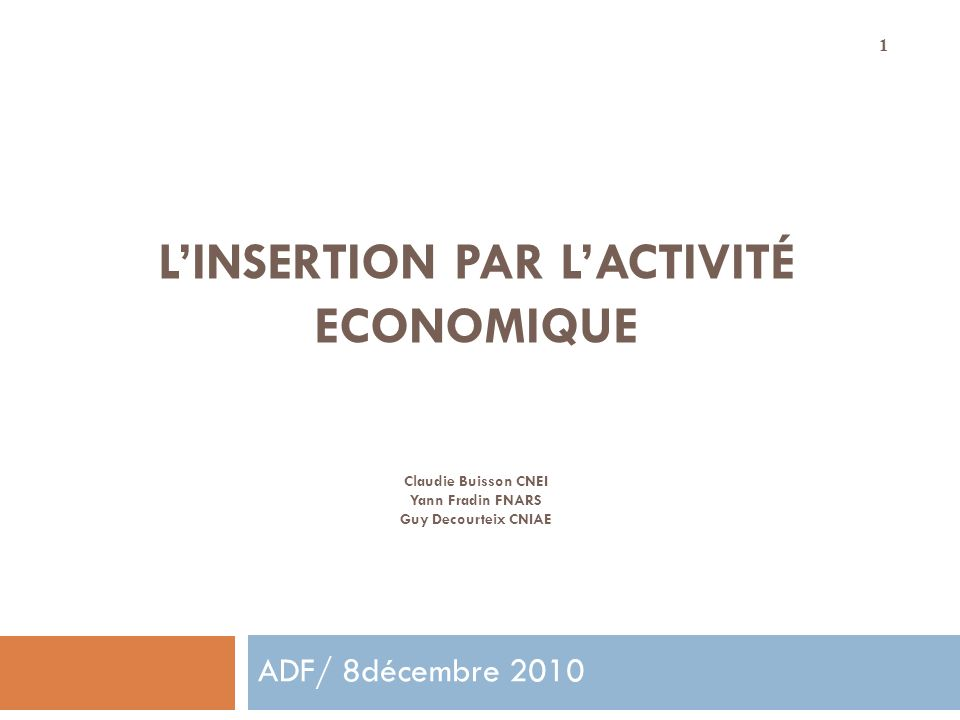 L'INSERTION PAR L'ACTIVITÉ ECONOMIQUE Claudie Buisson CNEI Yann Fradin FNARS Guy Decourteix CNIAE
