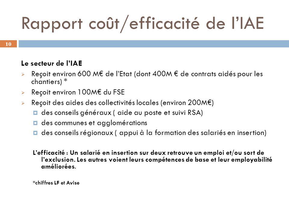 Rapport coût/efficacité de l'IAE