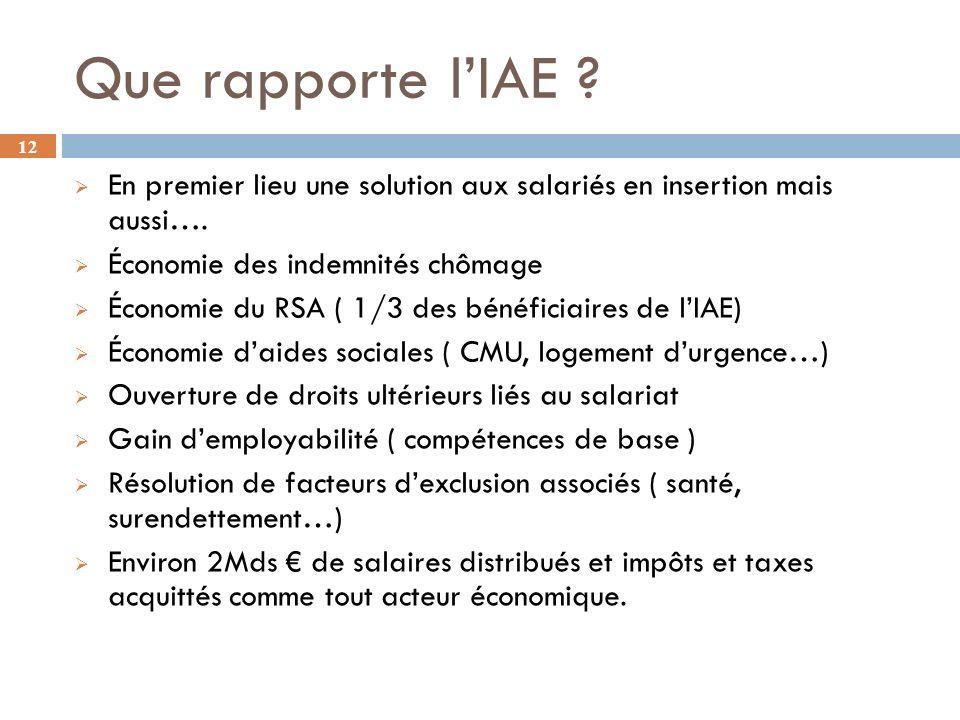 Que rapporte l'IAE En premier lieu une solution aux salariés en insertion mais aussi…. Économie des indemnités chômage.