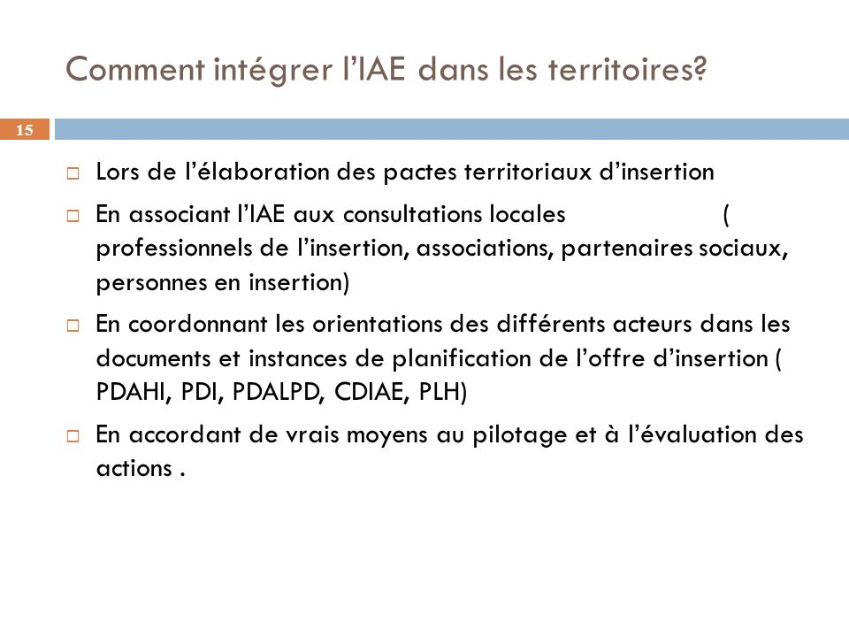 Comment intégrer l'IAE dans les territoires