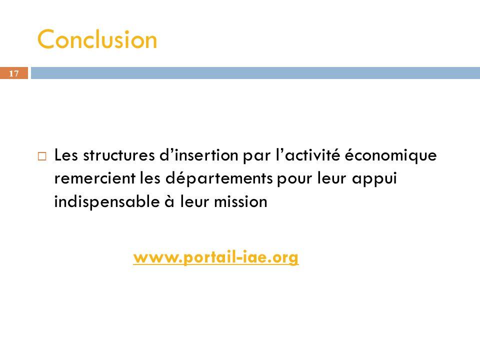 Conclusion Les structures d'insertion par l'activité économique remercient les départements pour leur appui indispensable à leur mission.