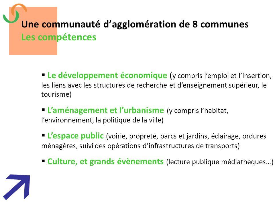 Une communauté d'agglomération de 8 communes Les compétences