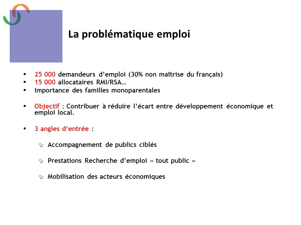 La problématique emploi
