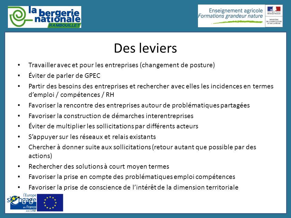 Des leviers Travailler avec et pour les entreprises (changement de posture) Éviter de parler de GPEC.
