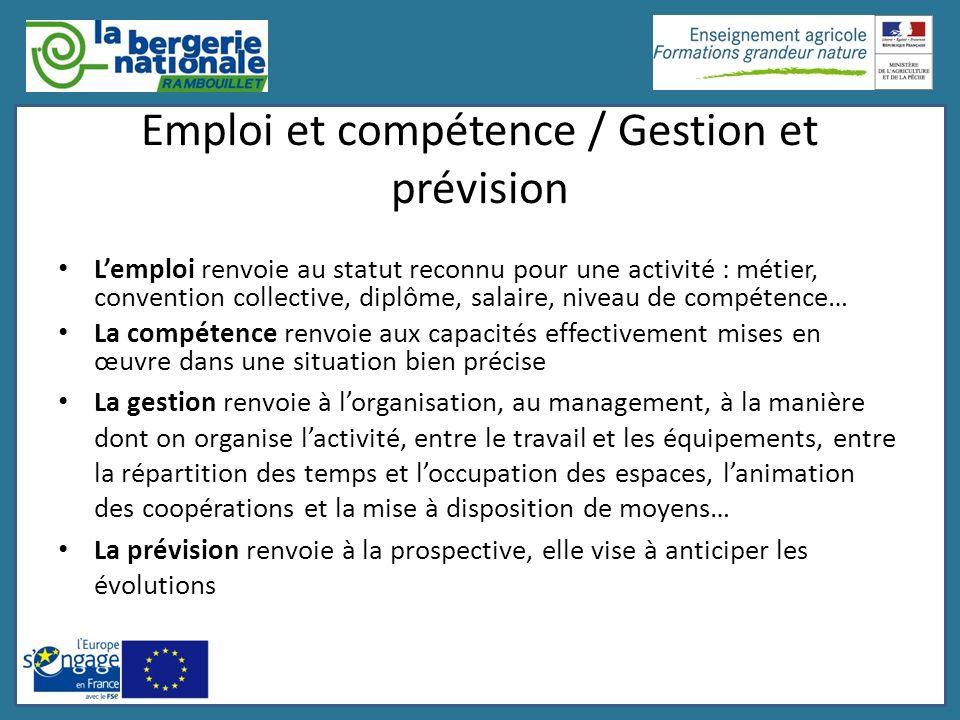 Emploi et compétence / Gestion et prévision