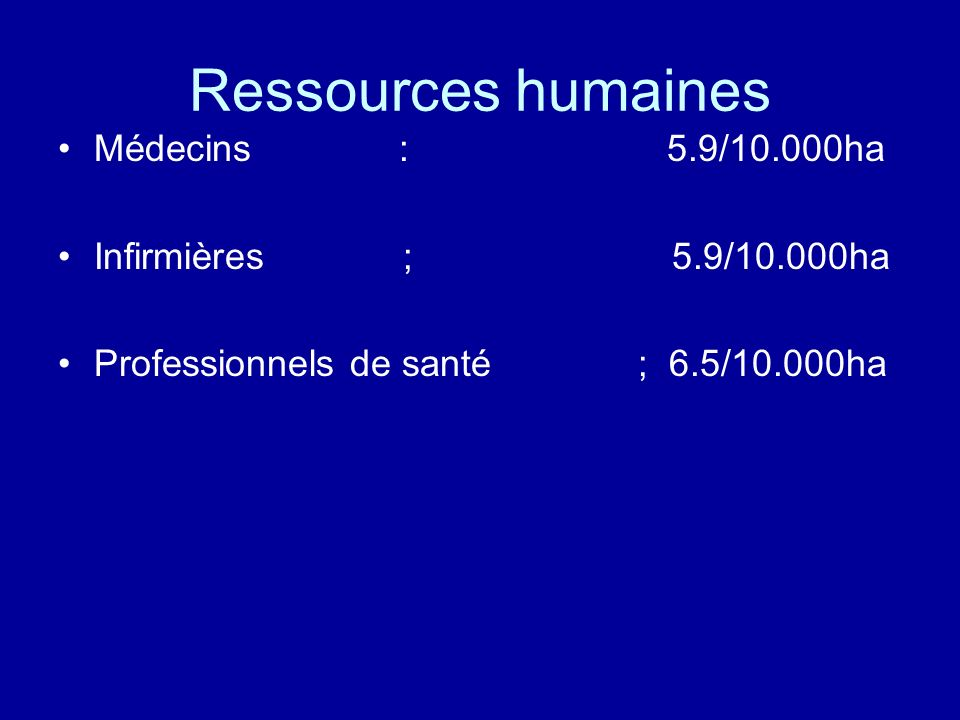 Ressources humaines Médecins : 5.9/10.000ha Infirmières ; 5.9/10.000ha