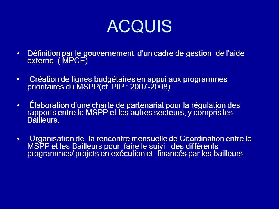 ACQUISDéfinition par le gouvernement d'un cadre de gestion de l'aide externe. ( MPCE)
