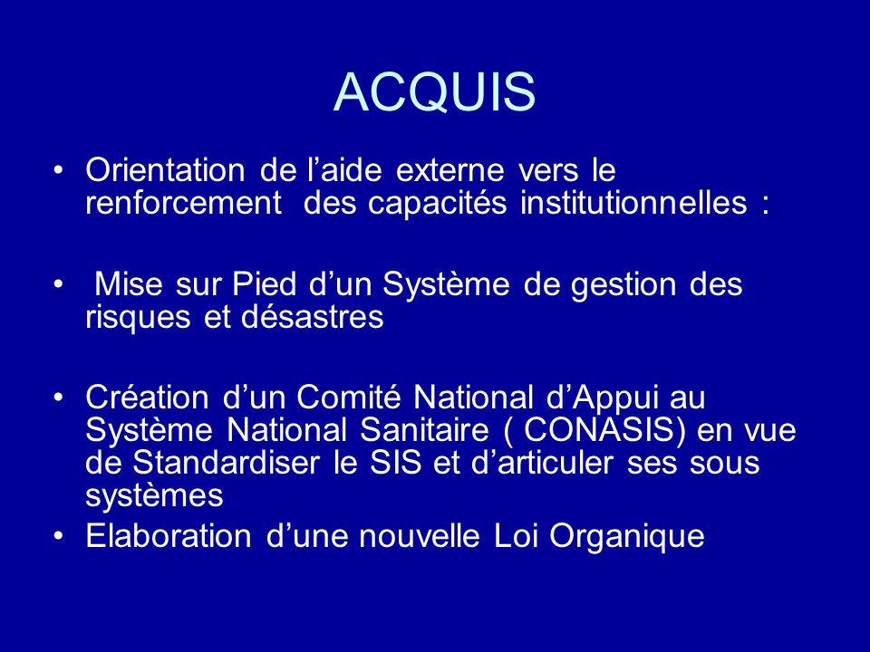 ACQUIS Orientation de l'aide externe vers le renforcement des capacités institutionnelles :