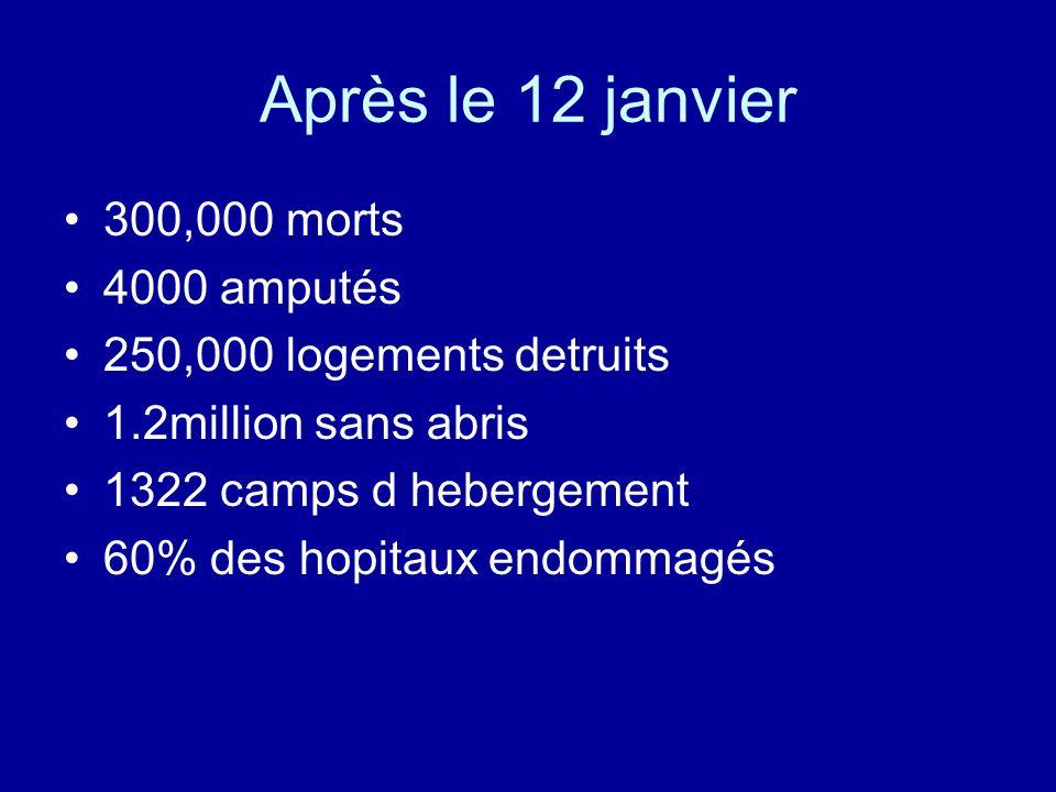 Après le 12 janvier 300,000 morts 4000 amputés