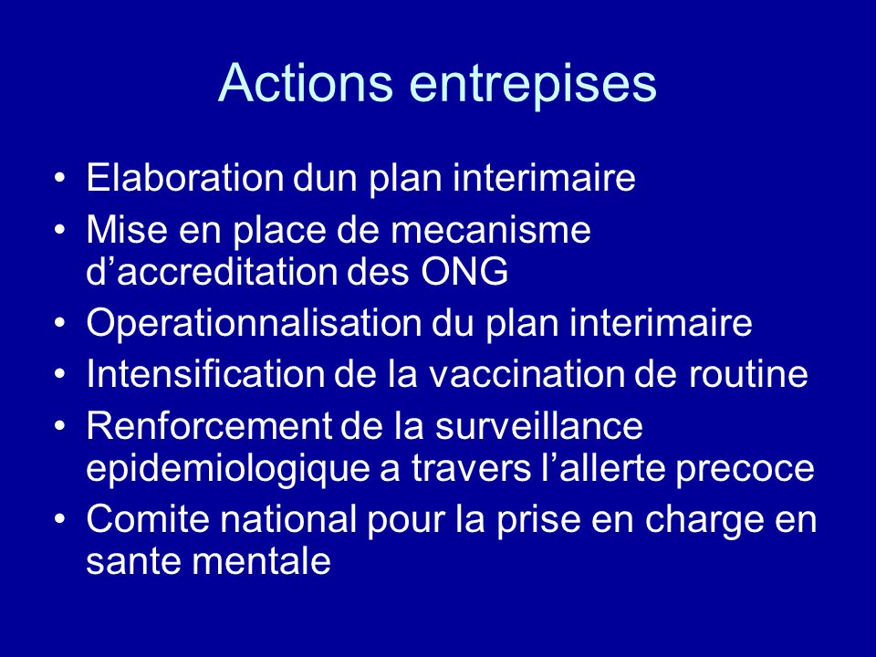 Actions entrepises Elaboration dun plan interimaire