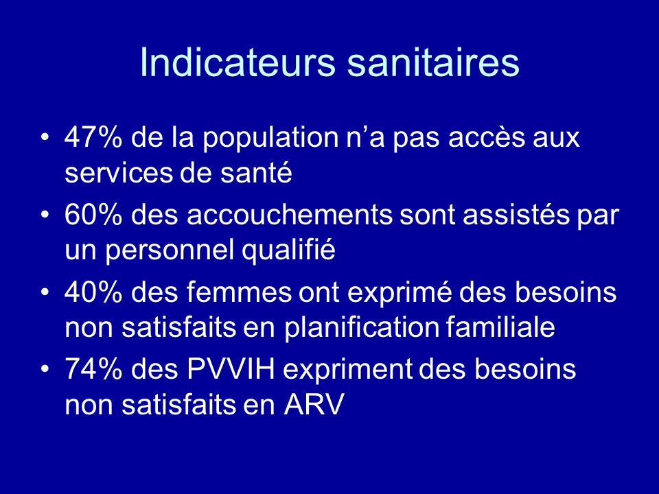 Indicateurs sanitaires