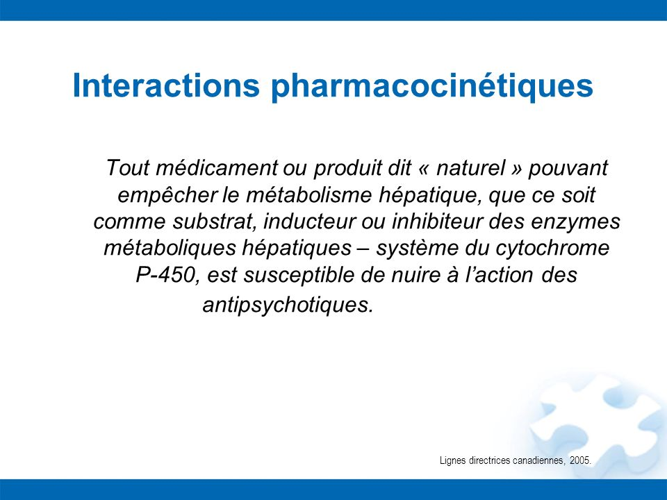 Interactions pharmacocinétiques