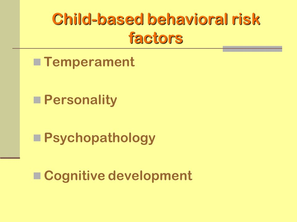 Child-based behavioral risk factors