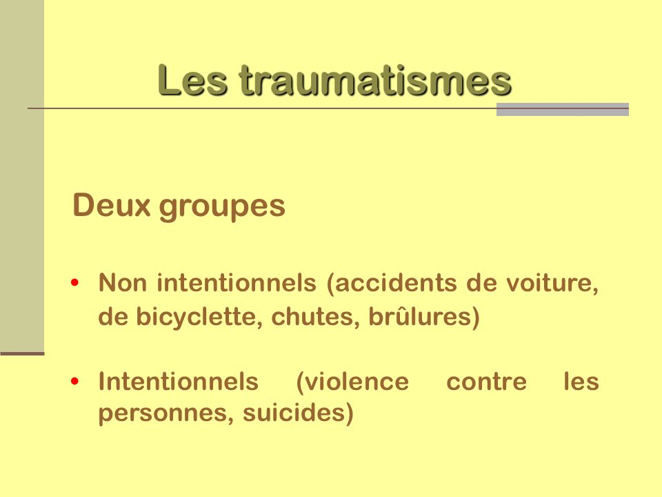 Les traumatismes Deux groupes