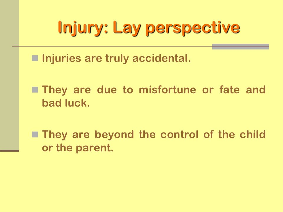 Injury: Lay perspective