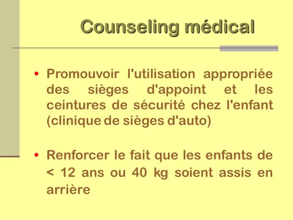 Counseling médical Promouvoir l utilisation appropriée des sièges d appoint et les ceintures de sécurité chez l enfant (clinique de sièges d auto)