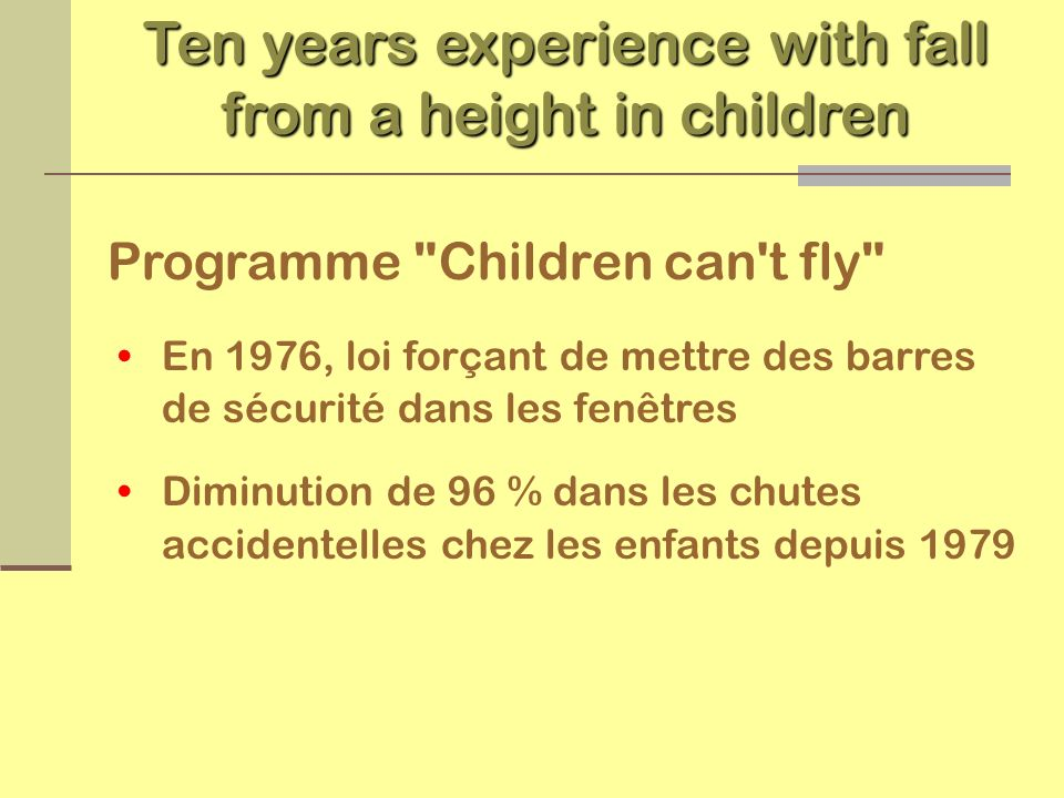 Ten years experience with fall from a height in children